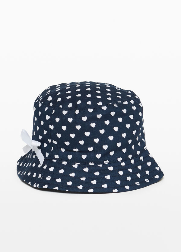 Cotton fishing hat with hearts