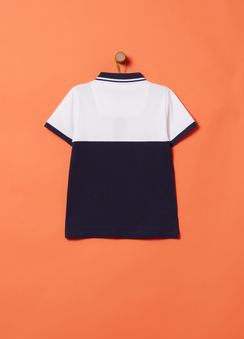 Two-tone 100% organic cotton polo shirt image number null