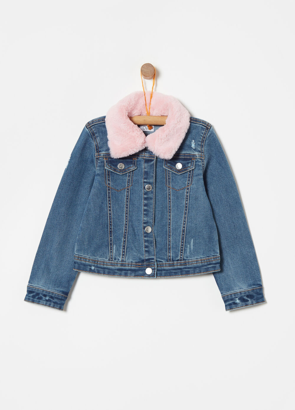 Denim jacket with faux fur neck