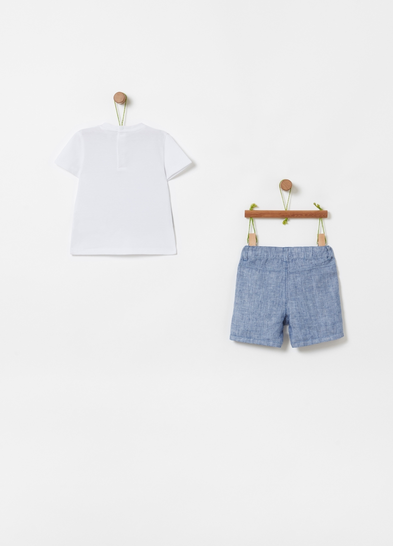 T-shirt with gilet and shorts set image number null