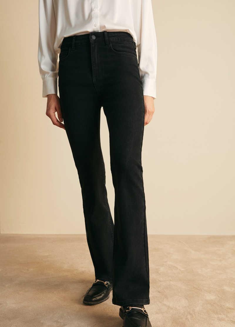 PIOMBO flare-fit stretch jeans image number null