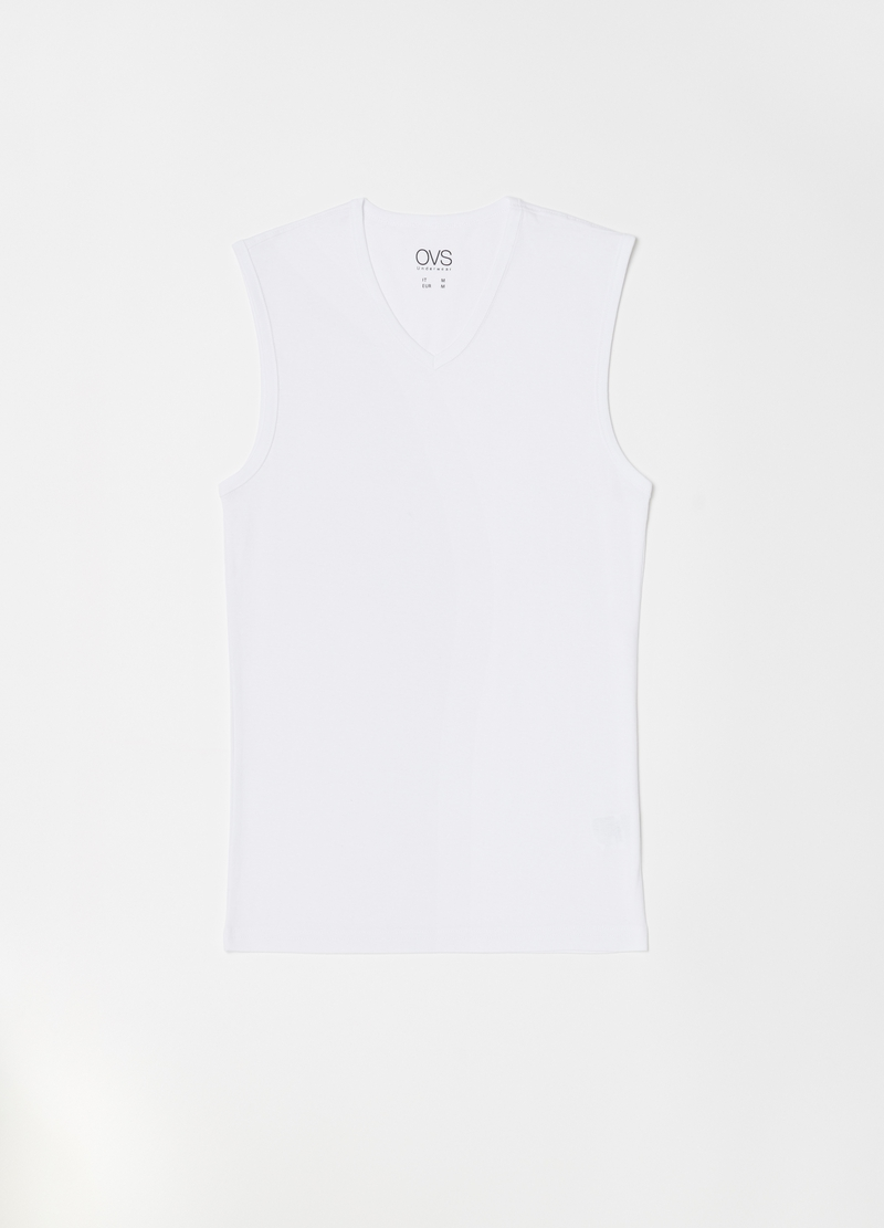 V-neck vest in 100% cotton image number null