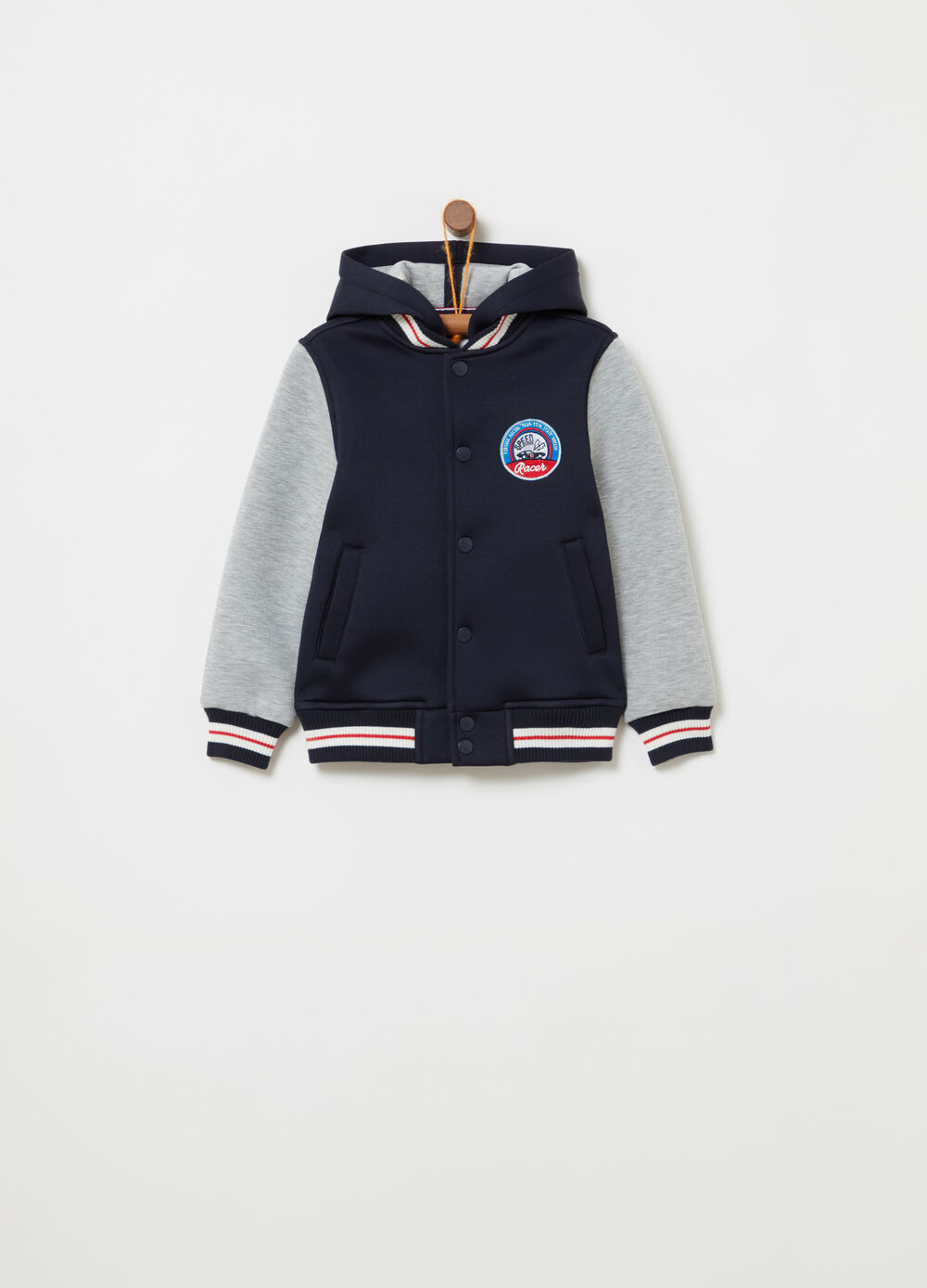 Two-tone stretch college-model jacket