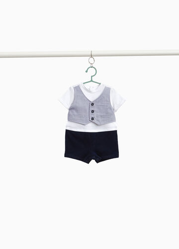 Two-tone romper suit with gilet