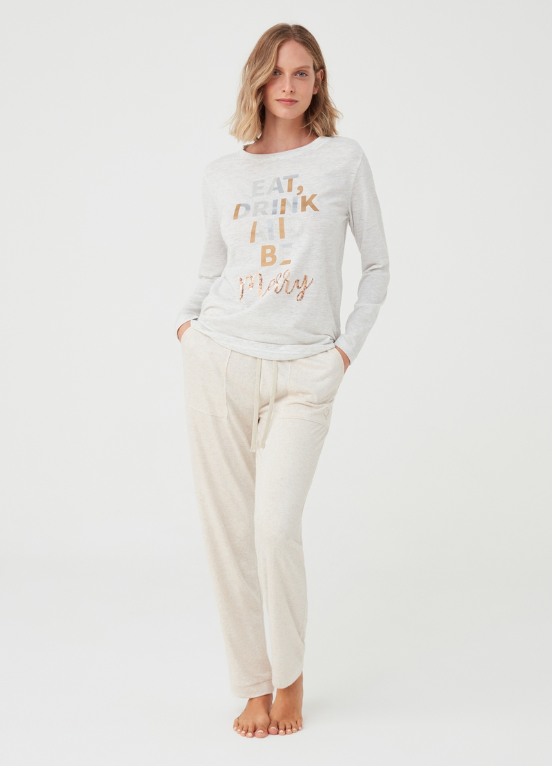 Mélange pyjama top with print image number null