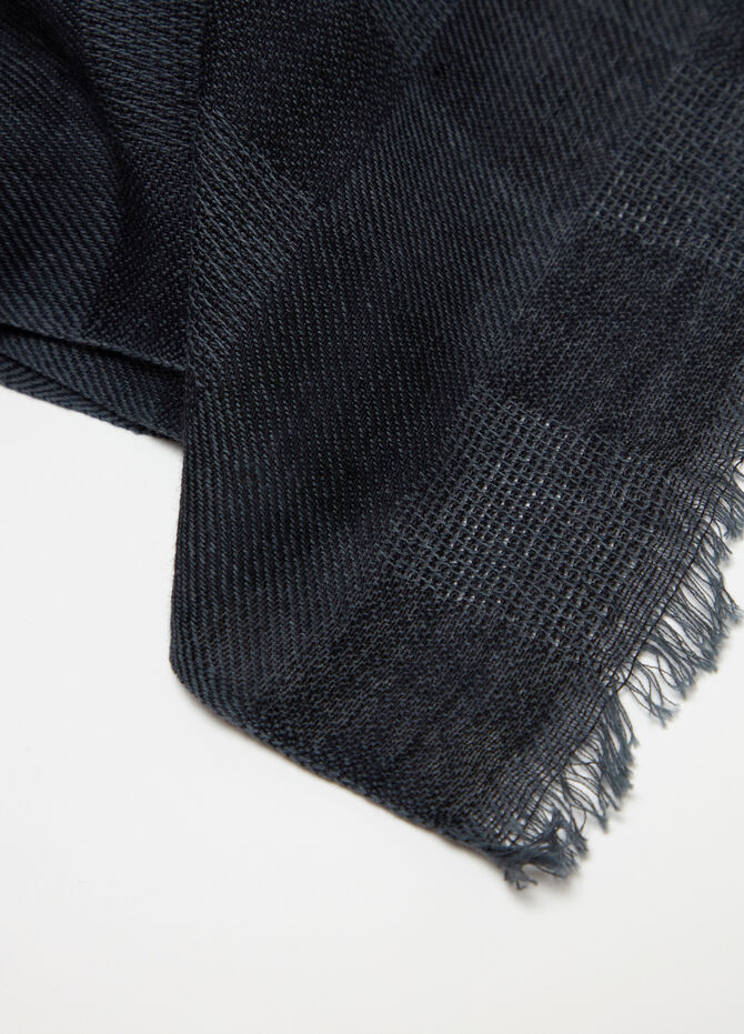 Jacquard scarf with check fringing