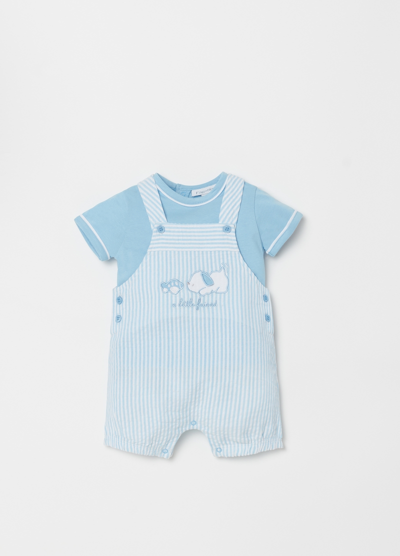 T-shirt and onesie set with embroidery and stripes image number null