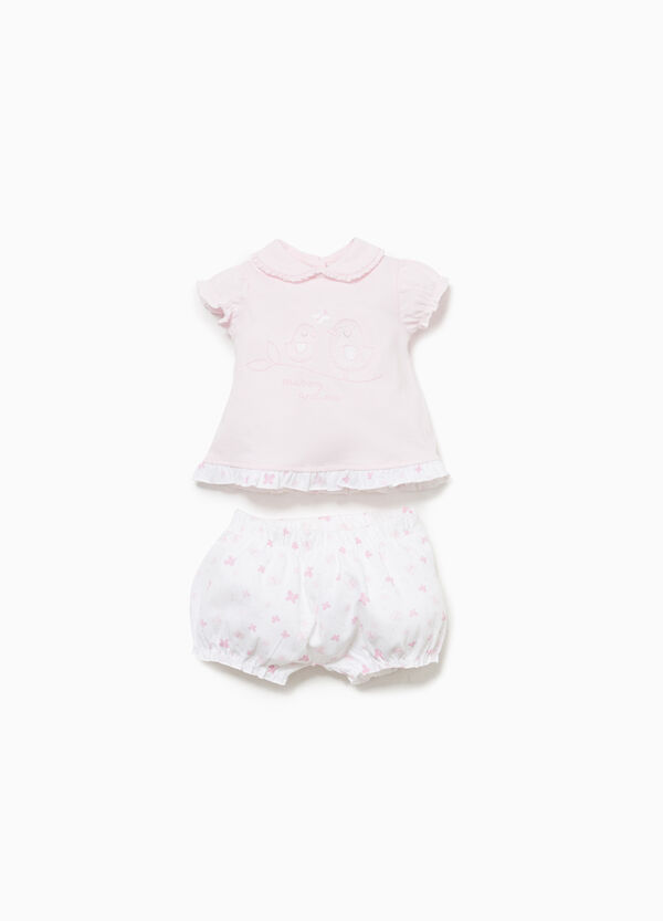 Butterfly cotton T-shirt and shorts outfit