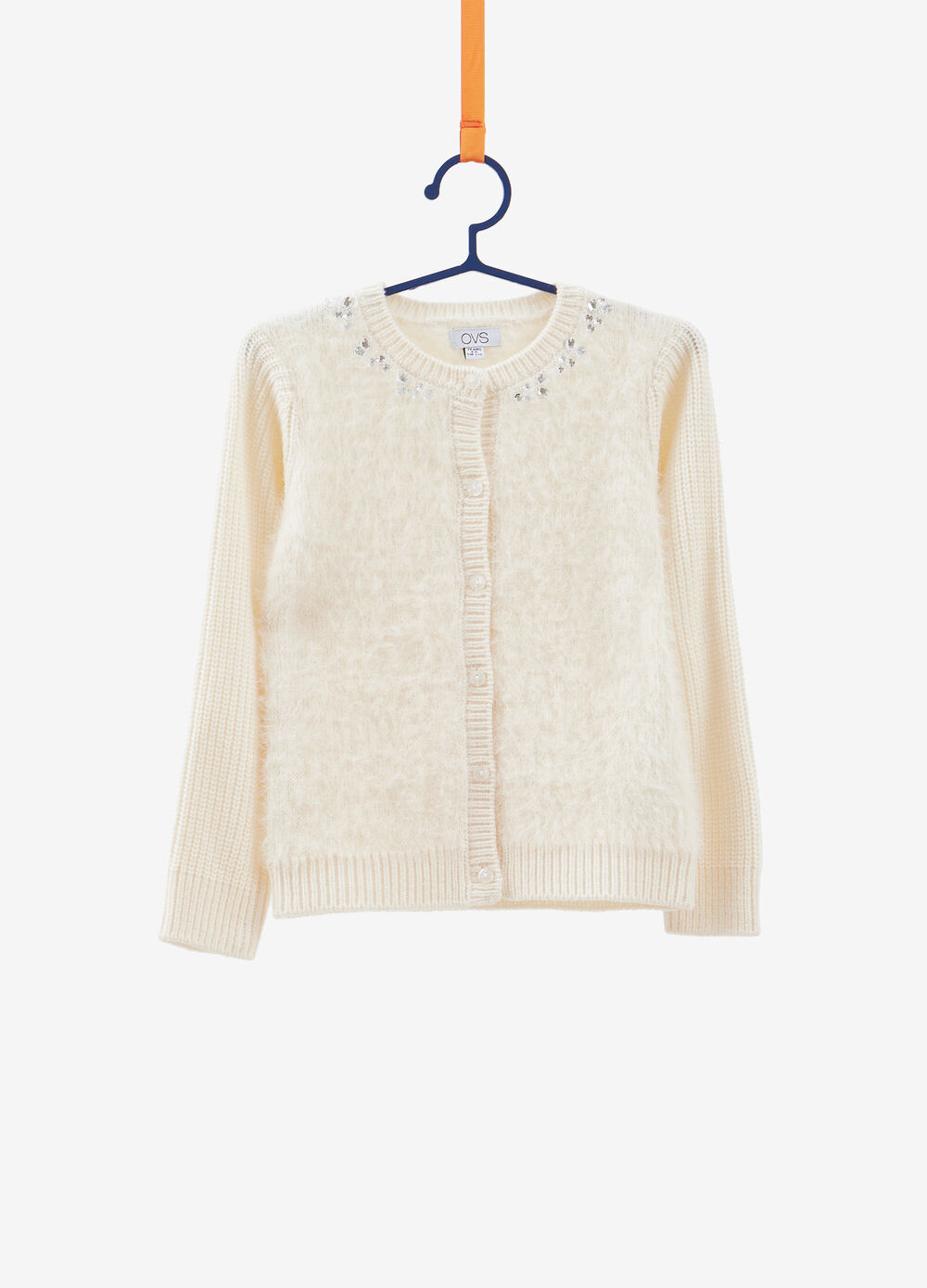 Solid colour knit cardigan with diamantés