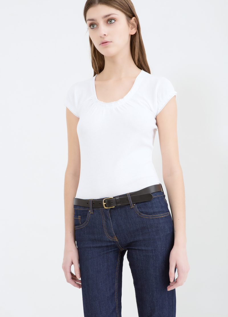 100% cotton T-shirt with gathered neck image number null