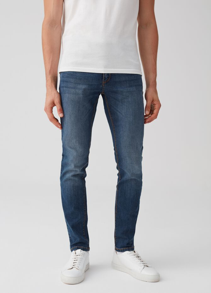 Jeans skinny fit stretch delavato tasche