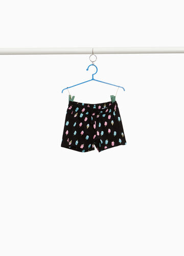 Shorts in cotone stretch stampa gelati