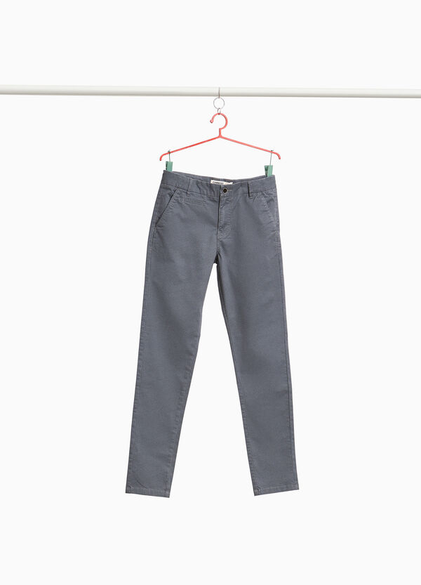 Pantaloni chino stretch micro fantasia