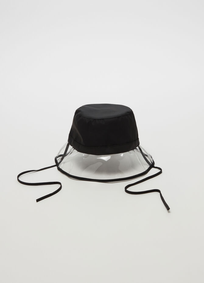 Solid colour cloche hat with transparent brim