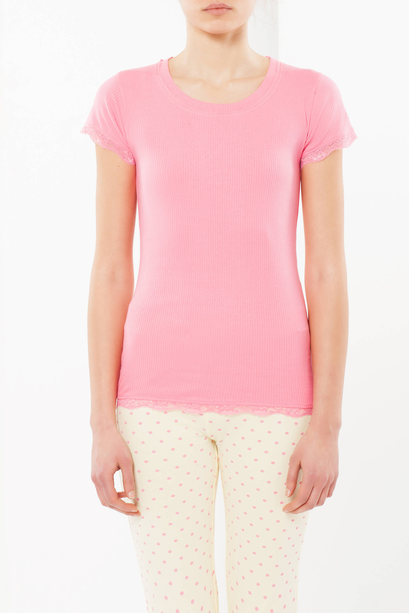 Short-sleeved sleep shirt with lace image number null