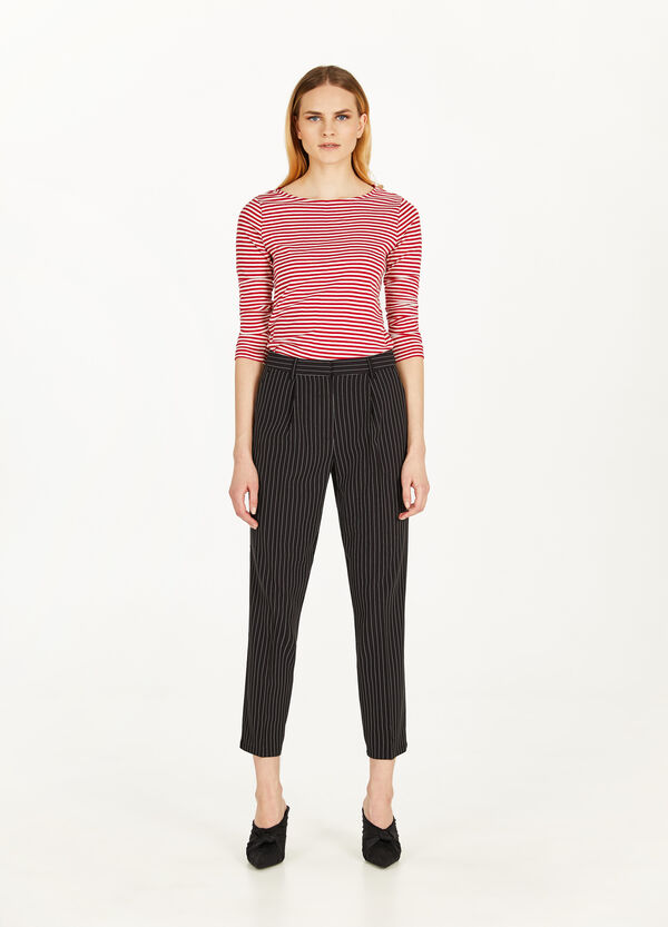 Chalk-striped stretch trousers