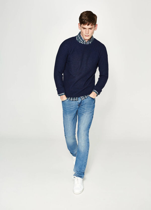Raglan pullover in cotton and cashmere