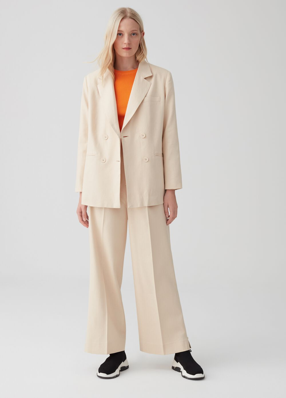 Wide-leg trousers with zip detail