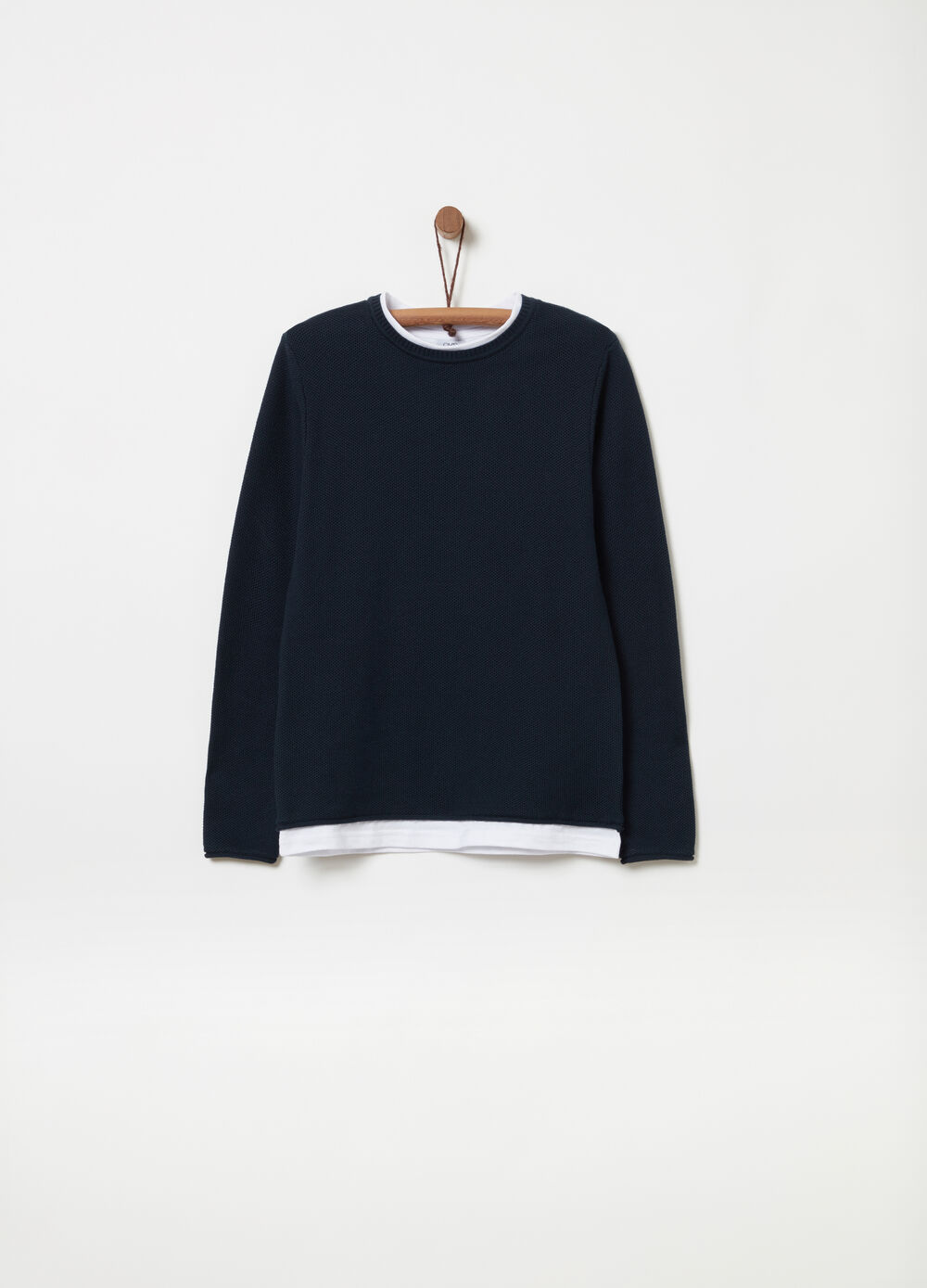 Faux layered knitted pullover