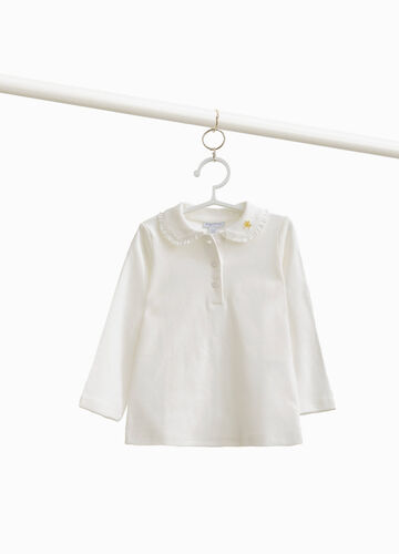 100% cotton polo shirt with flounce and embroidery