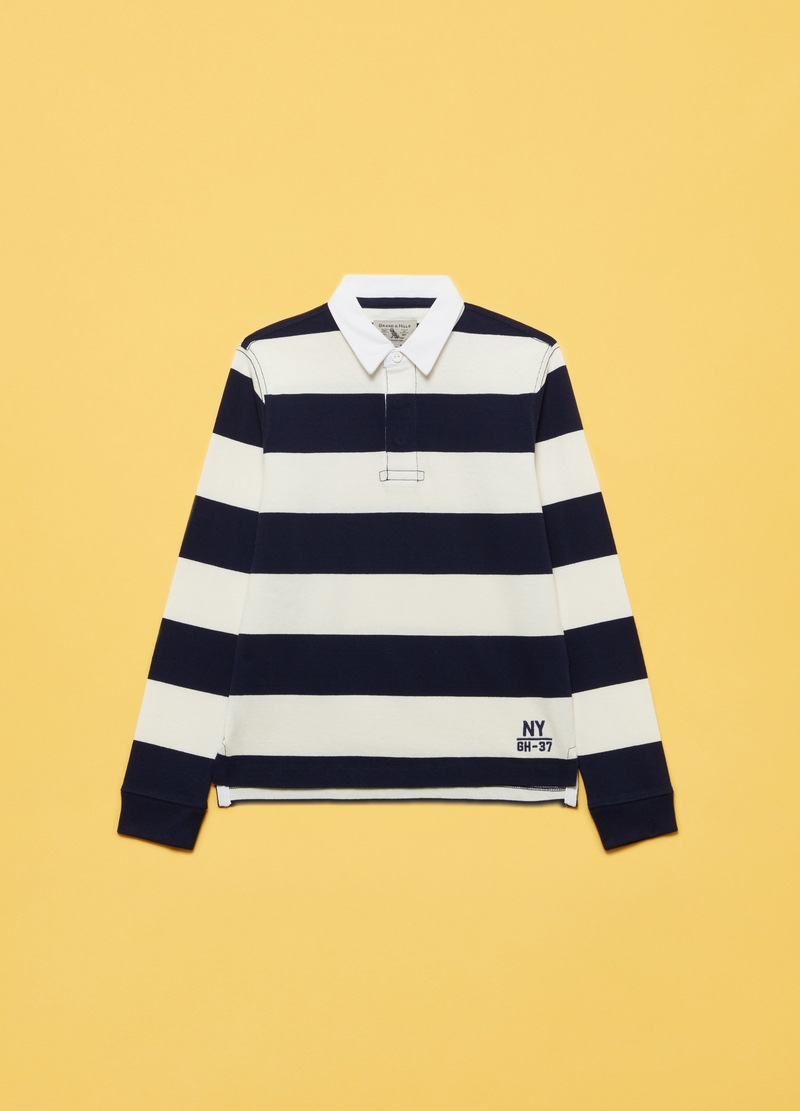 Striped cotton polo shirt image number null