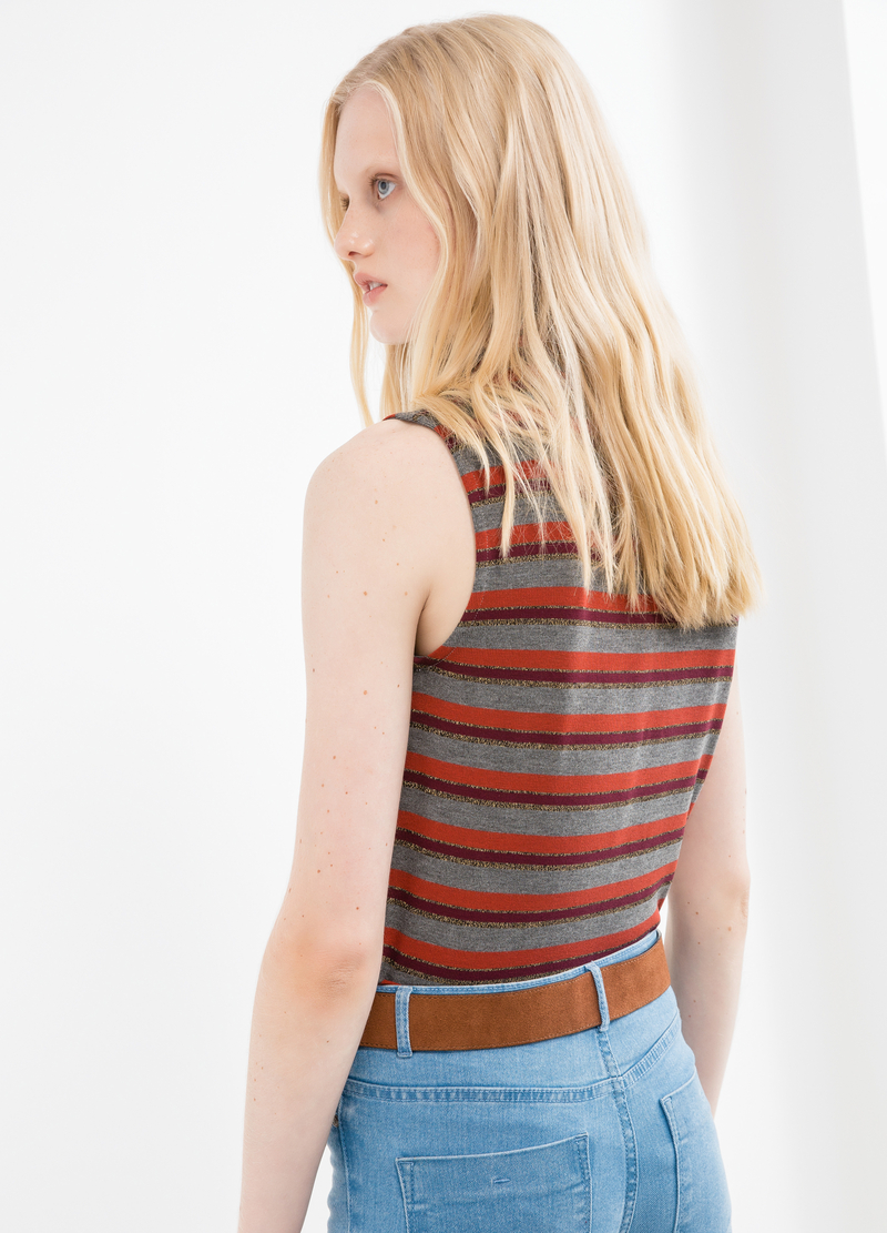 High-neck top with striped pattern image number null