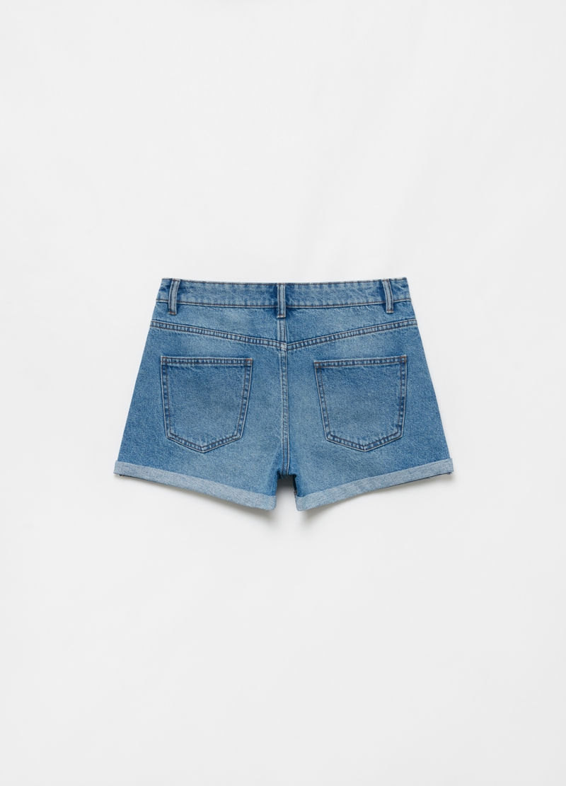 Denim boyfriend shorts with five pockets image number null