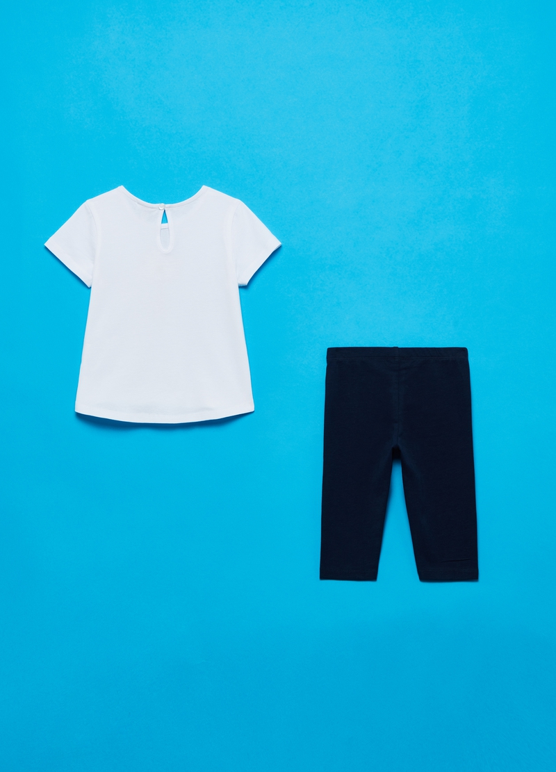 T-shirt with flower and leggings jogging set image number null