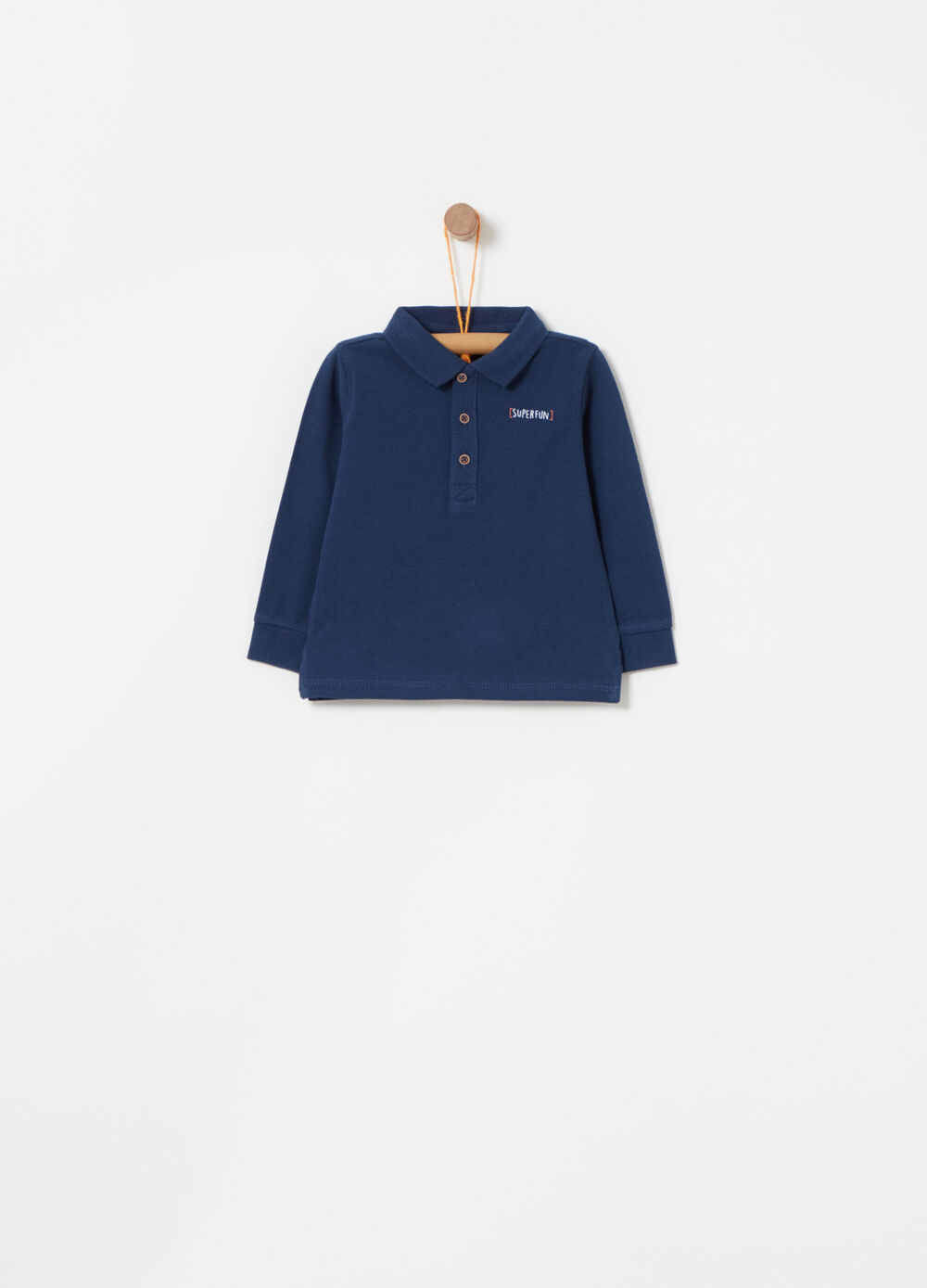 Polo shirt with print on chest and long sleeves