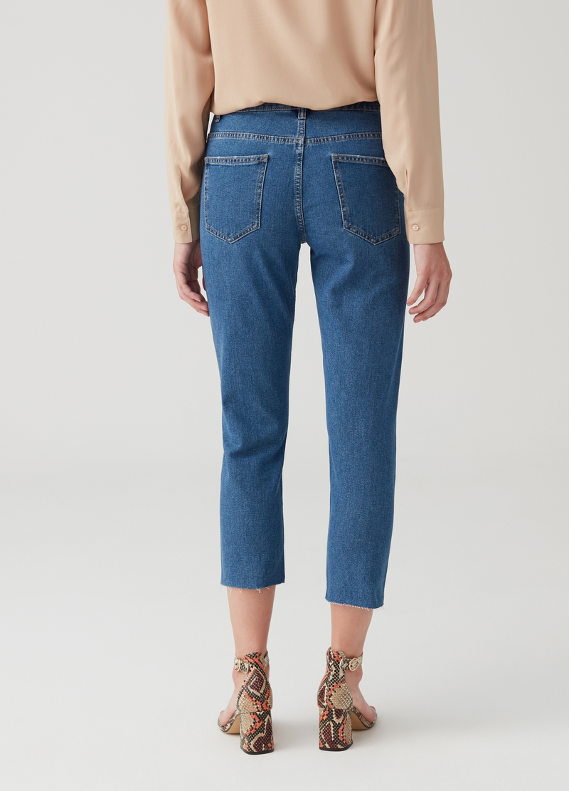 Jeans straight fit cropped cinque tasche image number null