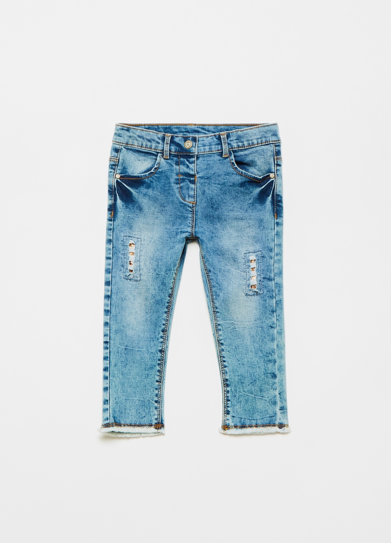 Jeans stretch effetto maltinto con paillettes image number null