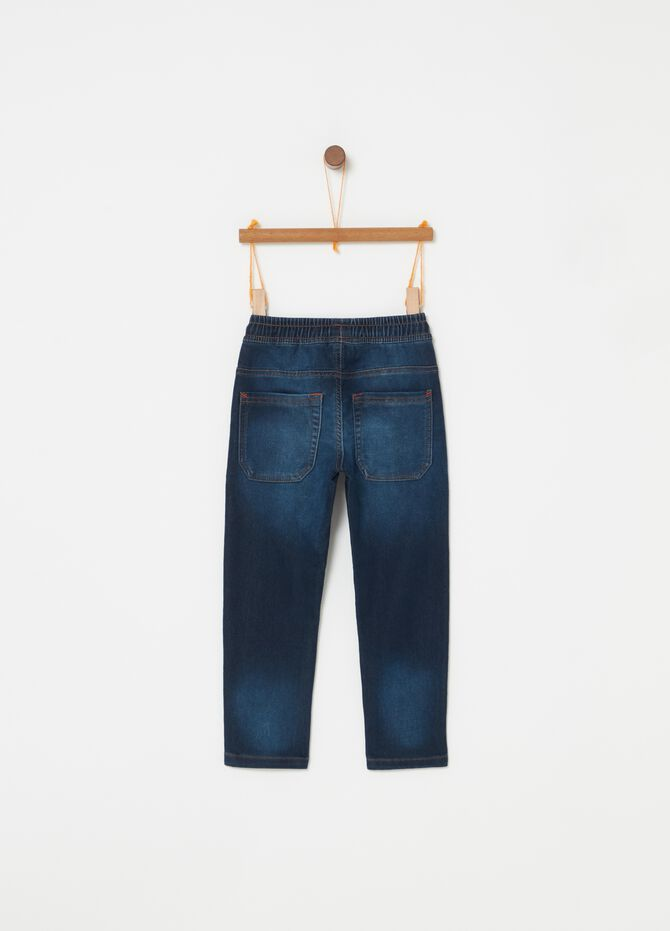 Jogger in denim stretch con coulisse
