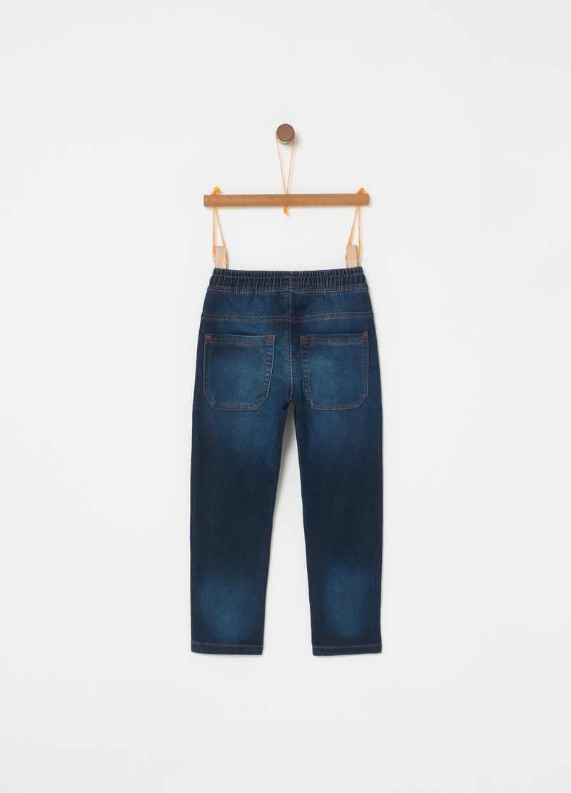 Jogger in denim stretch con coulisse image number null