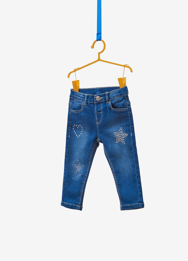 Washed-effect, slim-fit stretch jeans with studs