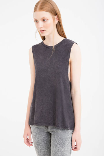 Mis-dyed effect 100% cotton top