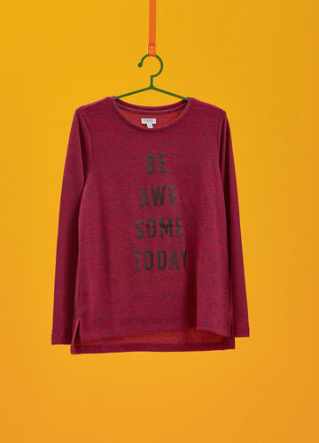 Pullover tricot mélange stampa lettering