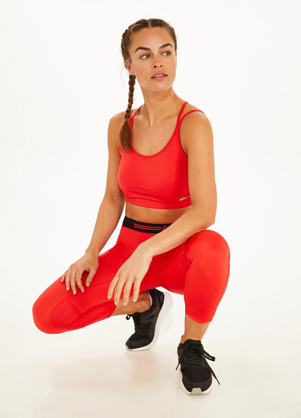 Stretch leggings with printed lettering