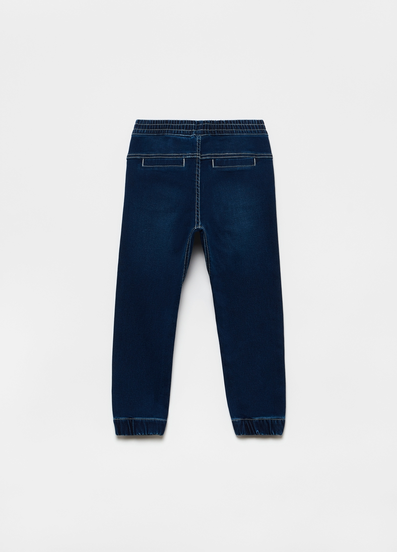 Joggers in denim con coulisse image number null