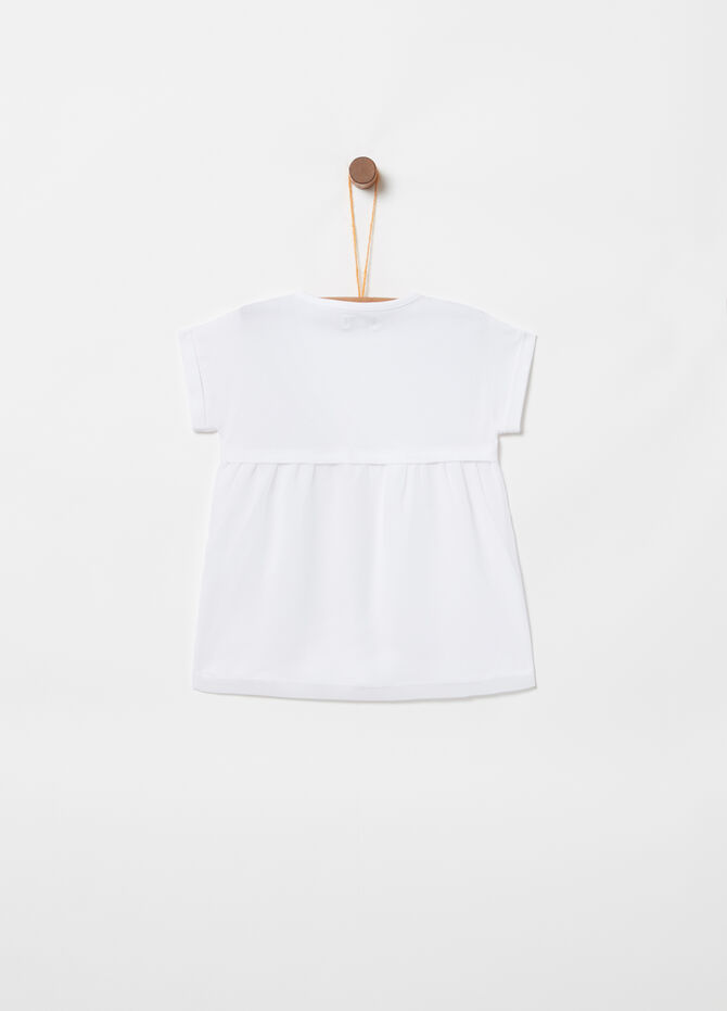 T-shirt stampa glitter floreale con strass