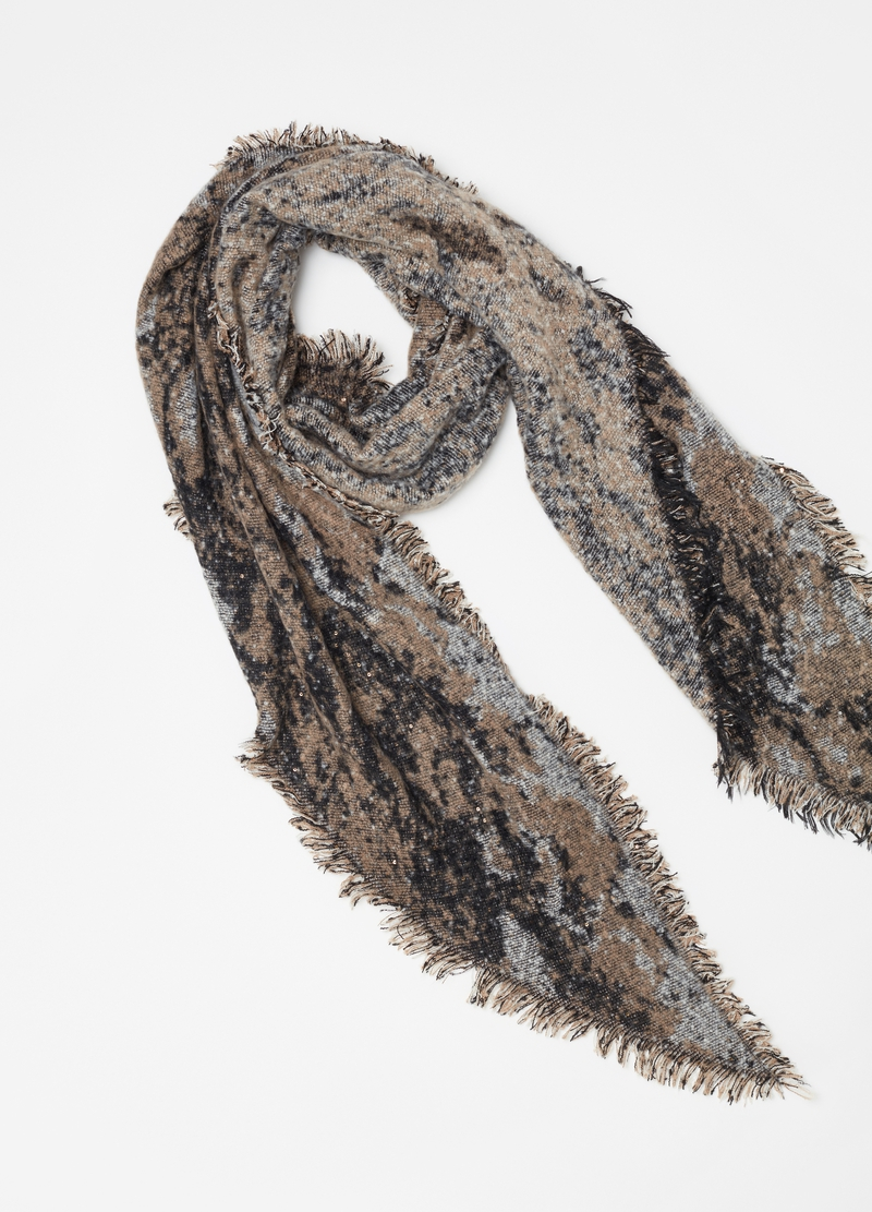 Scarf with speckled pattern and sequins image number null
