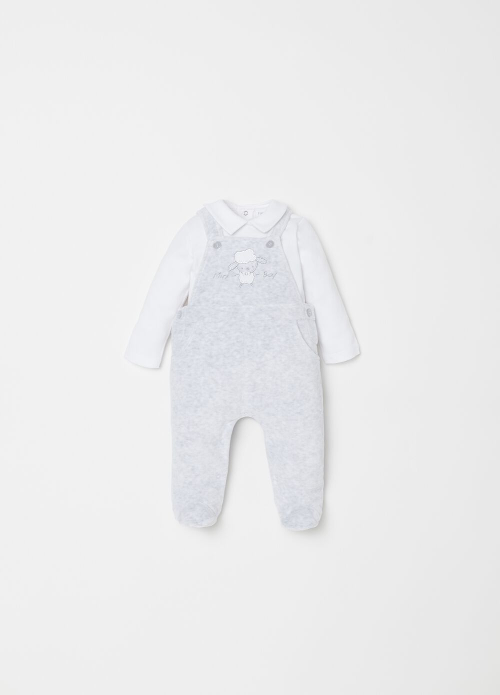 T-shirt and onesie set with sheep embroidery