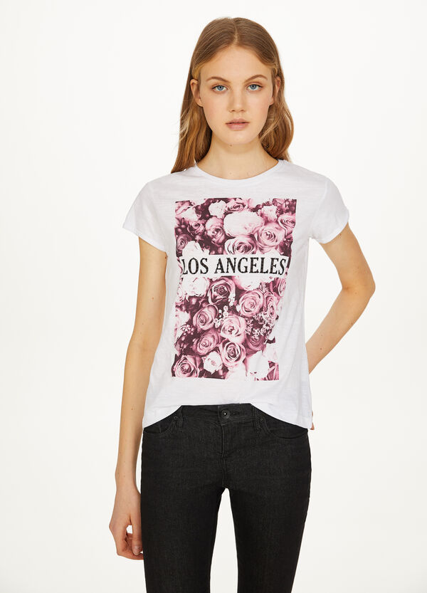 100% cotton T-shirt with roses print