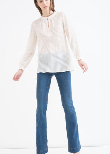Patterned blouse with fringe