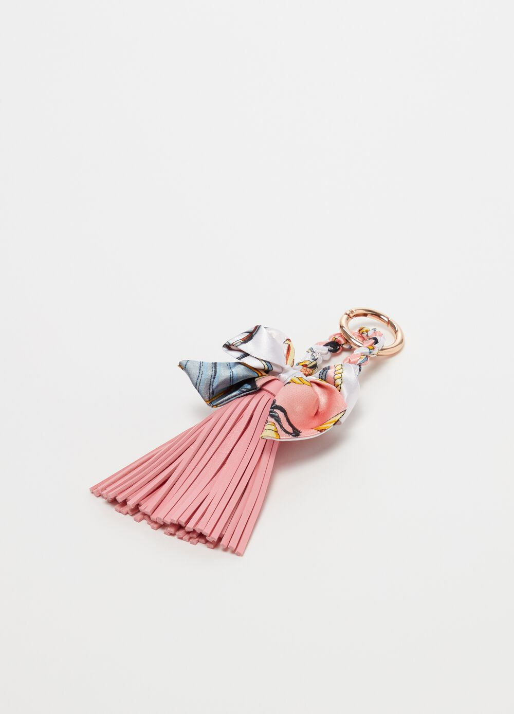 Keyring with tassel and patterned bow