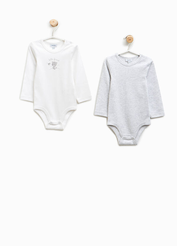 Two-pack organic cotton bodysuits with teddy bears | OVS