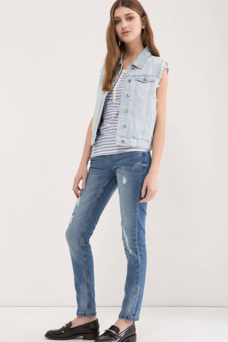 Ripped denim waistcoat image number null