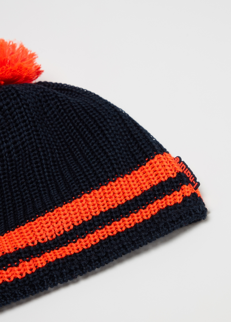 Knitted hat with striped pompom image number null