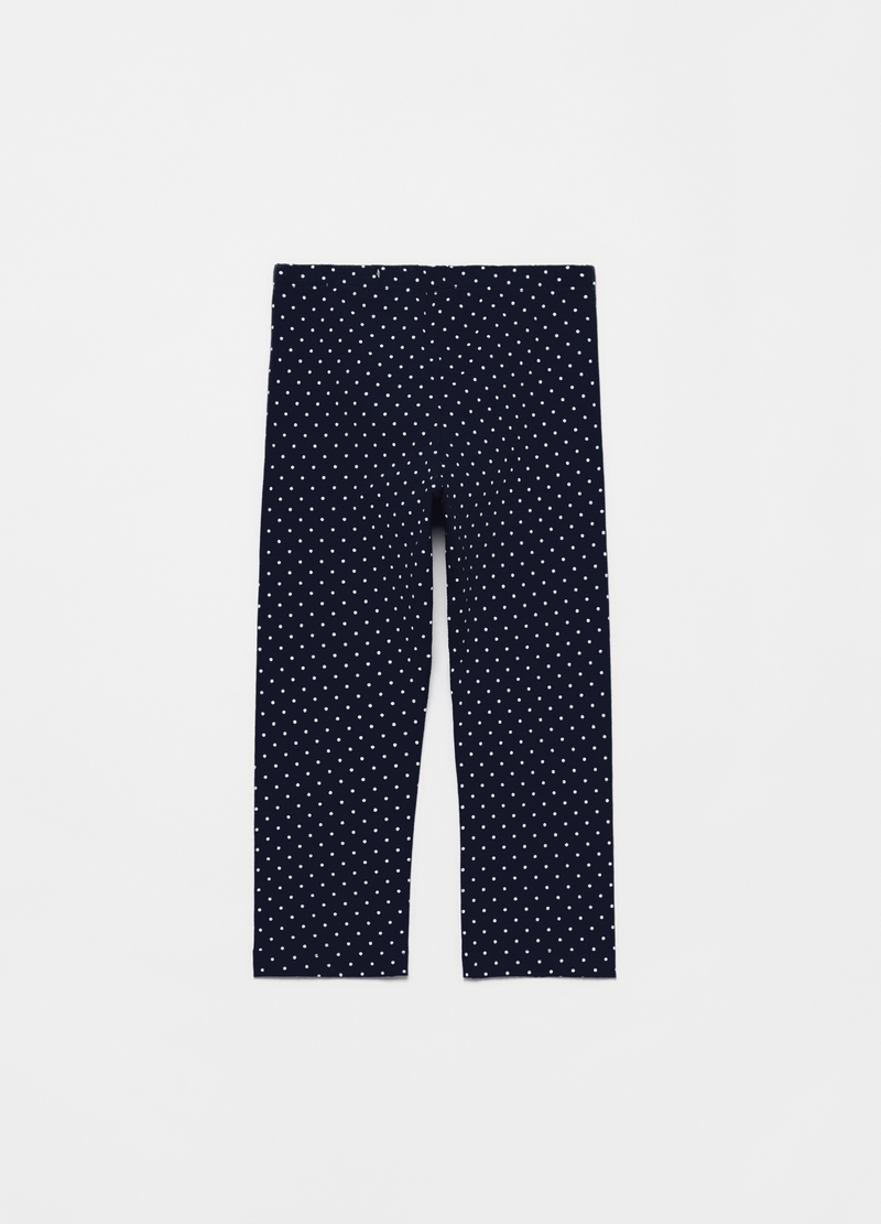 Leggings in cotone stretch a pois image number null