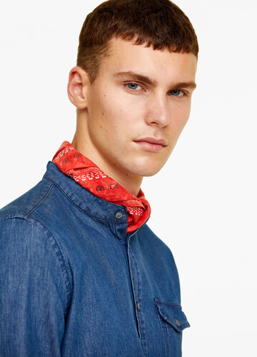 Denim shirt with Mandarin collar