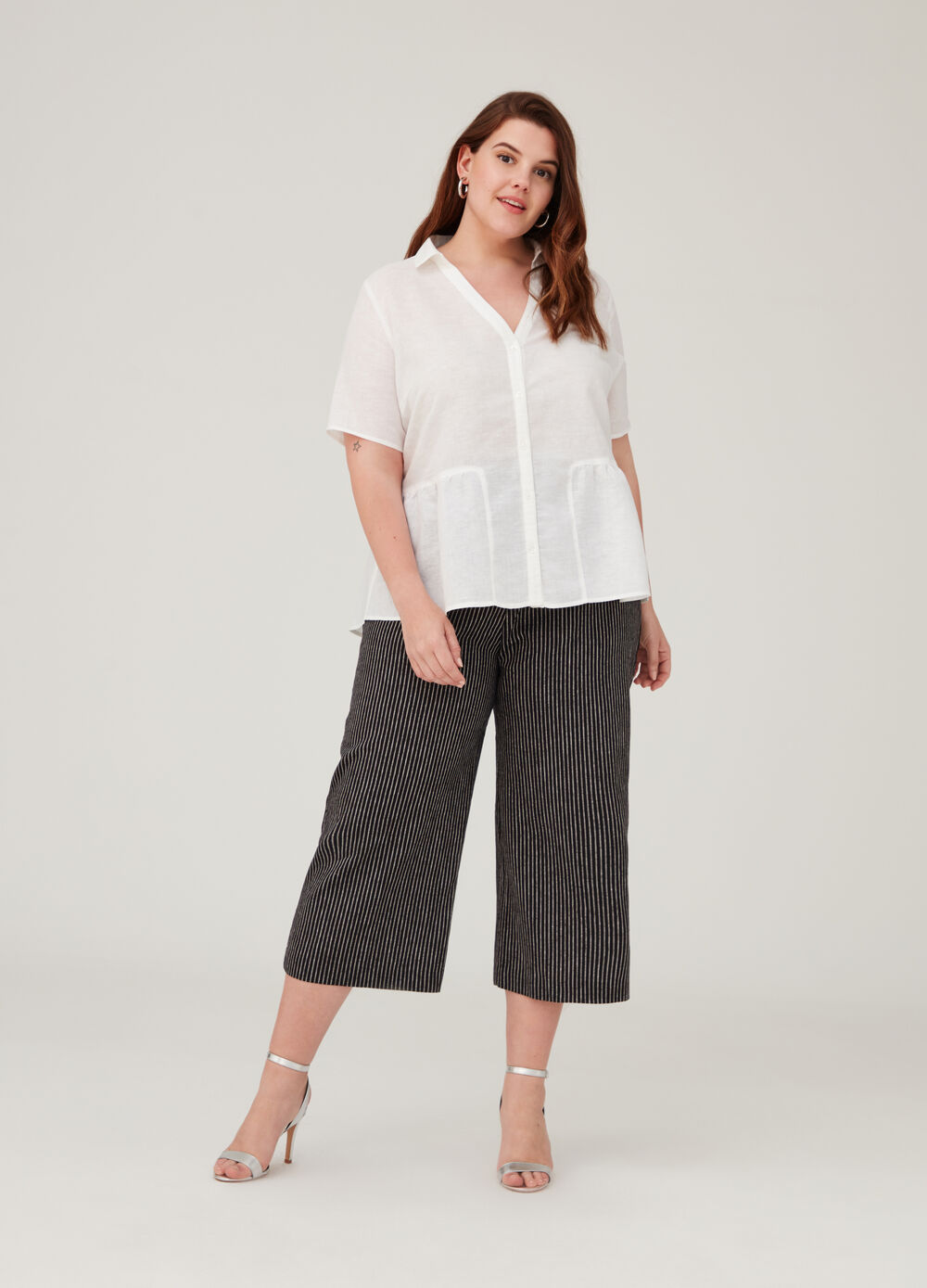 Curvy crop trousers with striped pattern